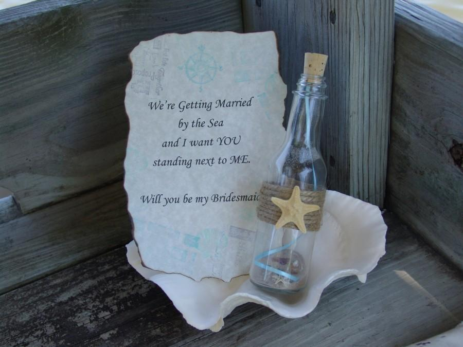 Wedding - Message In a Bottle Invitation Invite Will You Be My Bridesmaid Maid of Honor Flower Girl Beach Wedding Bridal Shower Party Proposal Friends