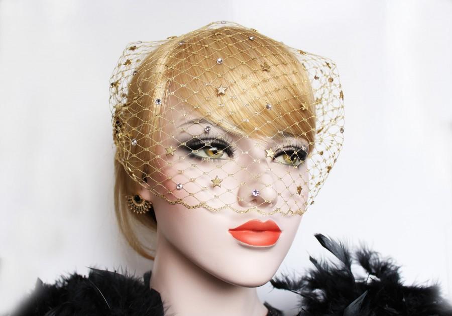 Mariage - Gold Celestial Wedding Birdcage Veil 1920s Gatsby Headpiece Swarovski Crystal Veil Art Deco Starburst Bandeau Veil 20s' wedding dress Veil
