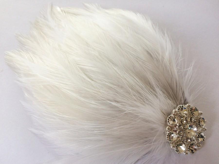 Mariage - Great Gatsby Headpiece - Women's Flapper Headpiece - Bridal Feather Headpiece - White Feather Flapper Head Piece - Gatsby Wedding Bartette -