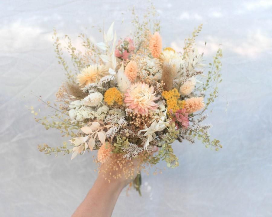 Свадьба - Peach Dream Pink Dried Flowers Bouquet / Preserved Flowers Bouquet / Wedding Bridal bouquet / Natural Greenery Bouquet in Spring color