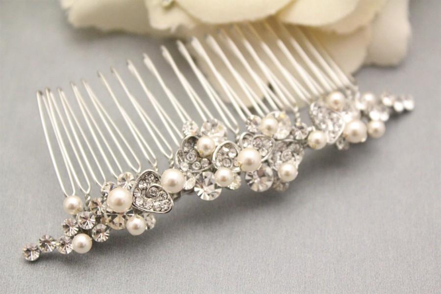 Mariage - wedding comb vintage bridal hair comb pearl wedding hair comb bride wedding hair accessories pearl hair comb side tiara wedding hair pieces