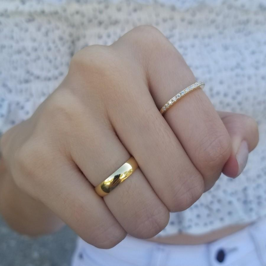 Mariage - Band Ring, Thin Cubic Ring, Engagement Ring, Minimalist Ring, Sterling Silver Ring, Dainty Ring, Thin Ring, Wedding Ring, BLAKELY RING