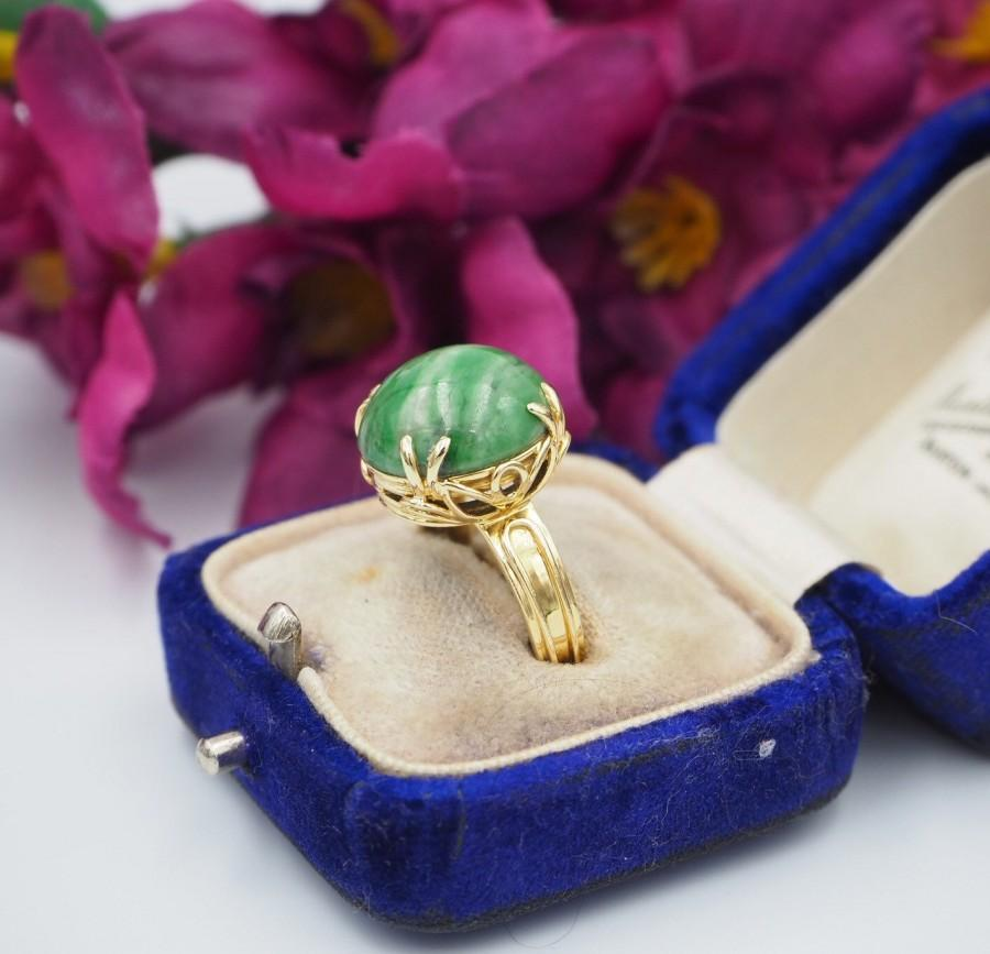 Mariage - Vintage 18ct Yellow Gold Jade Cabochon Ring, Size L 1/2 or 6.25, Statement Ring, Engagement Ring, Vintage Jade Ring, Jade Ring, Jade Canboch