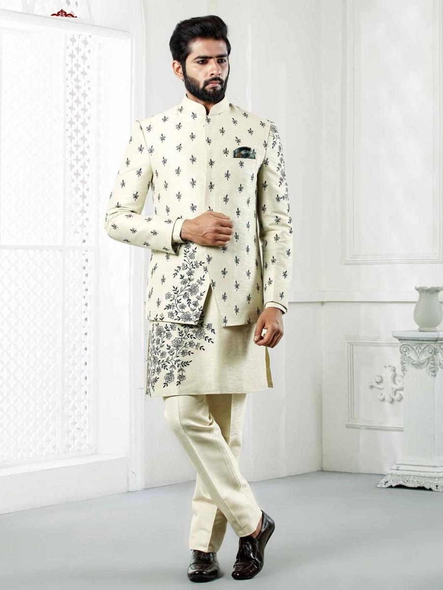 Hochzeit - Silk Jodhpuri Suit for Mens Indowestern Suit for Reception jodhpuri for men,mens wedding dress,wedding dresses for men,wedding suit for men