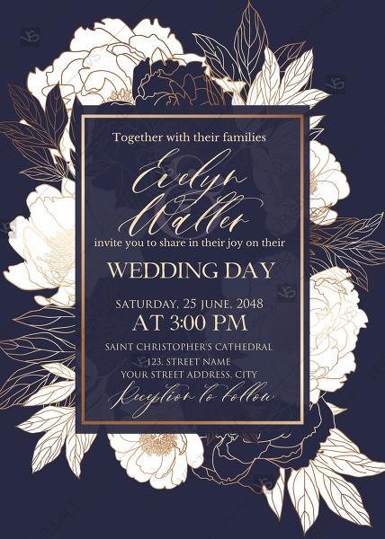 Wedding - White peony foil gold stamping custom card template wedding invitation set PDF 5x7 in