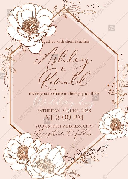 زفاف - Rose gold pink white peony leaf greenery branches wedding invitation set PDF 5x7 in edit template