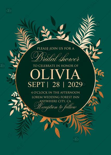 Wedding - Greenery herbal gold foliage emerald green wedding invitation set card template bridal shower PDF 5x7 in maker
