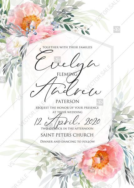 Wedding - Pink peony wedding invitation card template PDF 5x7 in invitation maker