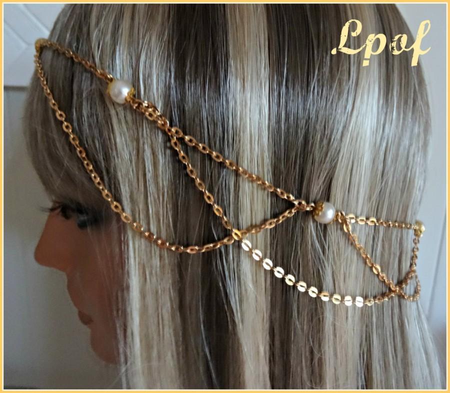 زفاف - Rose Gold Bridal Headpiece Head Piece Hair Jewelry Chain Headpiece Bridal Accessory Bridesmaid Accessory Hair Chain Boho Pearl Luster Vi