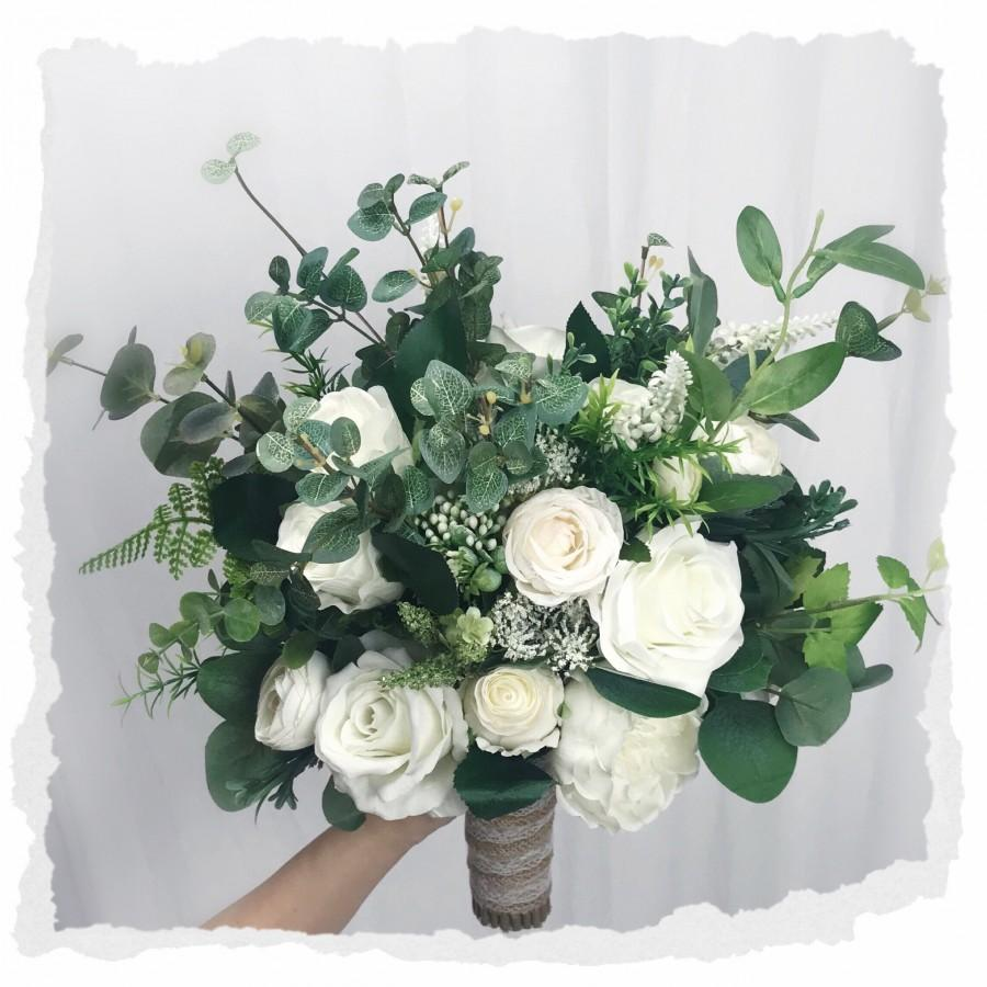 Mariage - White greenery bouquet,Wedding bouquet ,boho bouquets ,bridal bridesmaids bouquets ,spring summer beach wedding ,peonies ,rose,eucalyptus