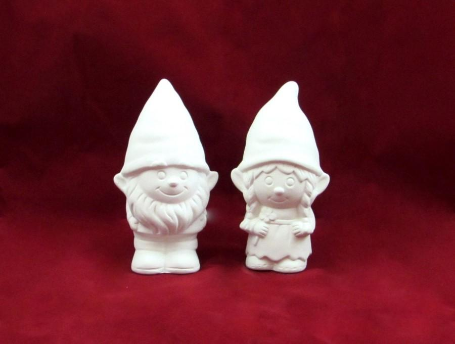 Mariage - Ready to Paint Gnome Cake Topper Set for Weddings - 5 inches, bisque  garden gnome, outdoor or indoor, wedding cake toppers