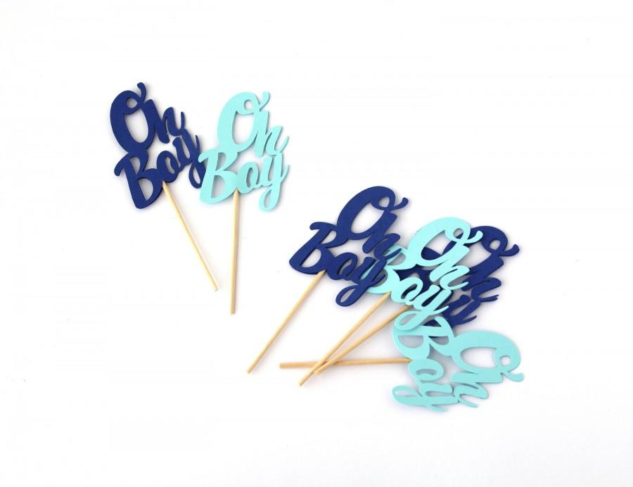 Mariage - Blue & Light Blue Oh Boy Cupcake Toppers, Baby Shower Decorations, Boy Baby Shower Decorations, Blue Baby Shower Decorations, OHBOYtopper103