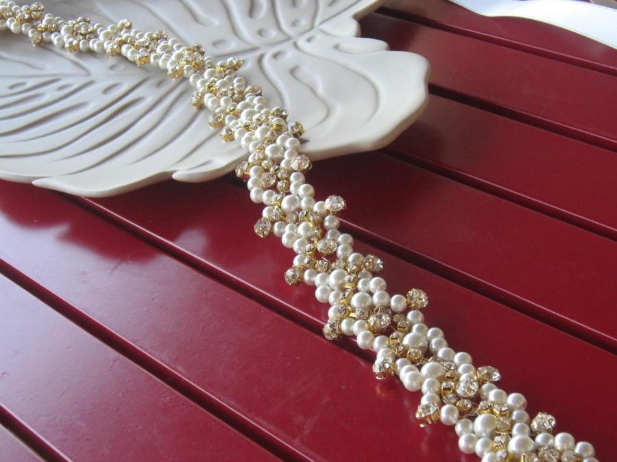 Wedding - Wedding Gold Belt/ Ivory Pearl and Gold Crystal Rhinestone Bridal Sash, Wedding sash, Bridal Accessories, Bridal Belt and sashes