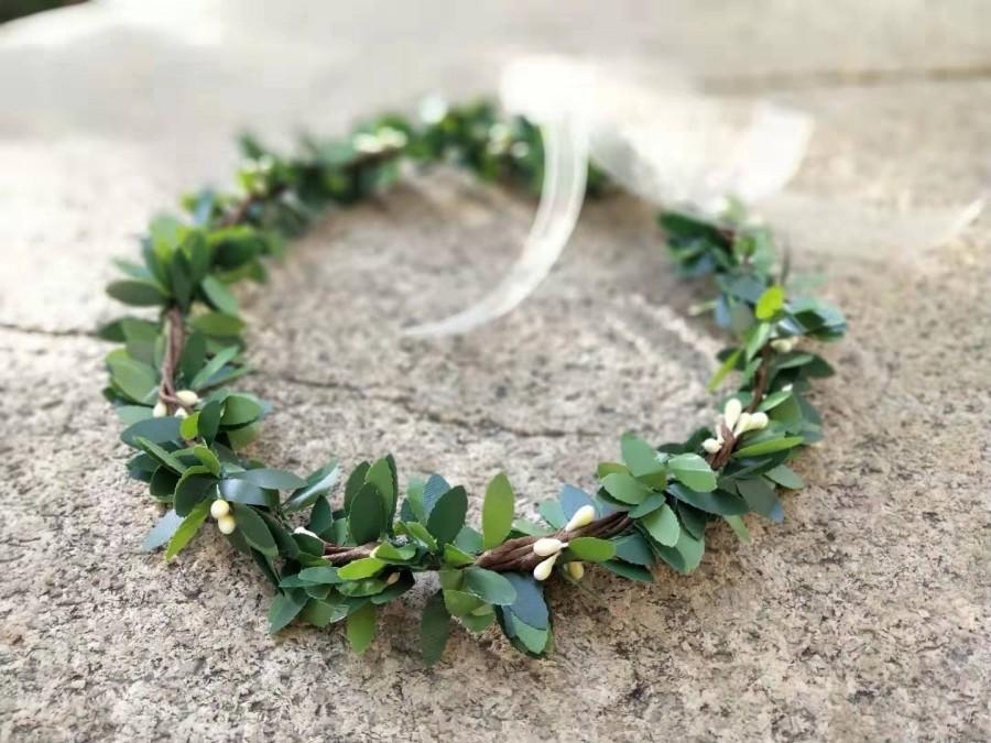 Свадьба - Wedding Flower Crown Green Wedding Crown Greenery Crown Baby Child Flower Headband Bohemian Flower Crown For Veil Flower girl crown