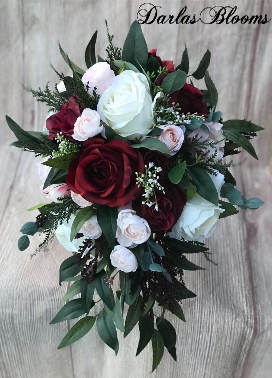 Mariage - Cascade Wedding bouquet, Burgundy Bridal bouquet, Blush bouquet, Boho bouquet, Burgundy & Blush Silk Wedding Bouquet, Blush Wedding Flowers