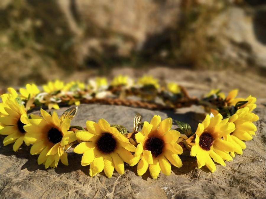 Свадьба - Sunflower crown. Wedding flower crown. Flower girl crown. Baby flower crown. Sunflower headband baby.  Bridal flower Crown. Flower Crown