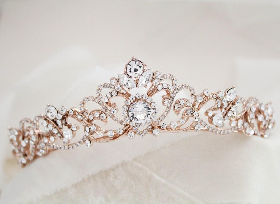 Свадьба - Rose gold Bridal tiara Rose gold Wedding crown Rhinestone crystal tiara Vintage style wedding tiara Bridal headband headpiece