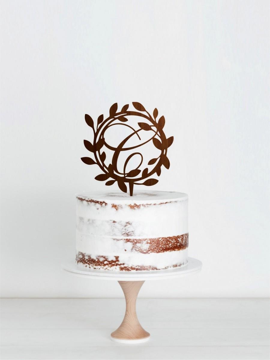 Свадьба - Letter C Cake Topper, Custom Wreath Cake Topper, Floral Wreath Cake Topper, Personalised Wedding Cake Topper, Monogram Wreath Cake Topper