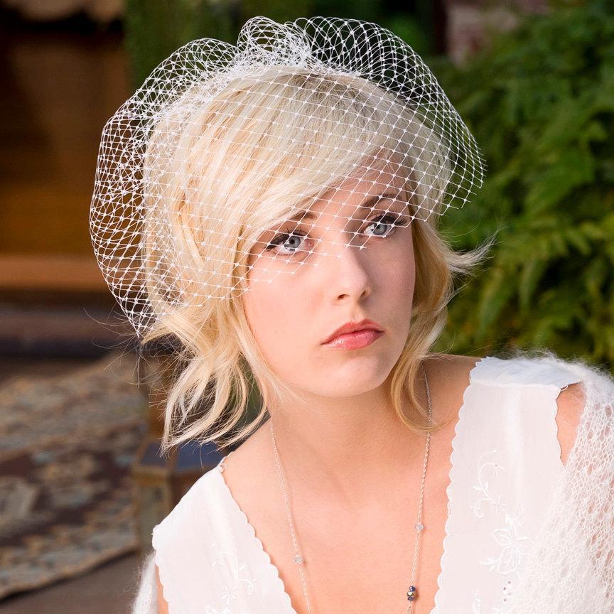 Mariage - Birdcage veil, blusher veil, wedding veil, - French net cage veil no. 773