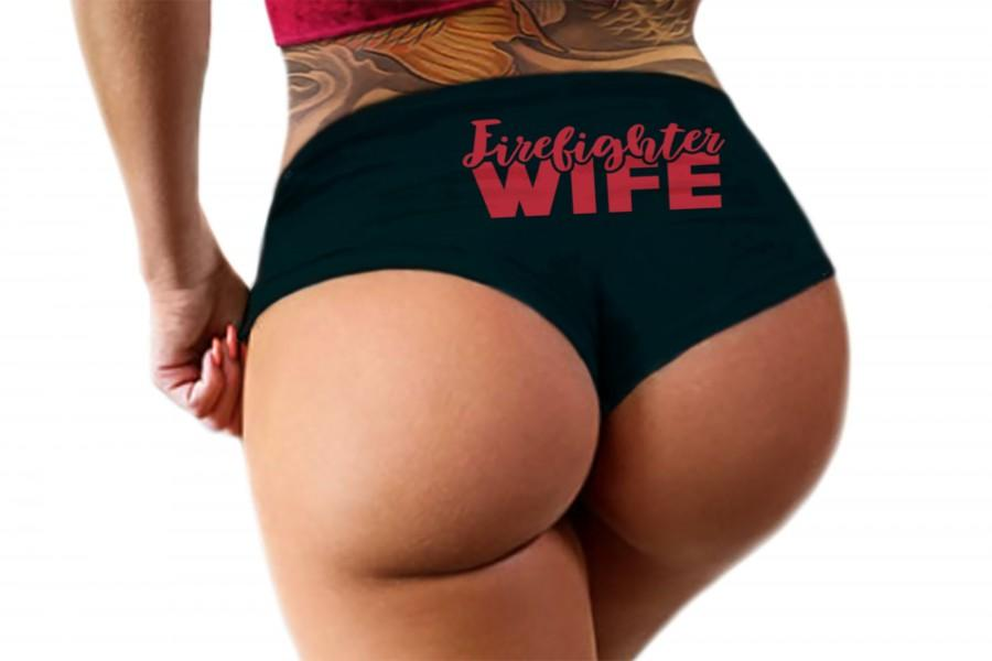 Mariage - Firefighter Wife or Girlfriend Panties Sexy Funny Boy Short Bachelorette Party Fire Fighter Bridal Gift Booty Panty Womens Underwear