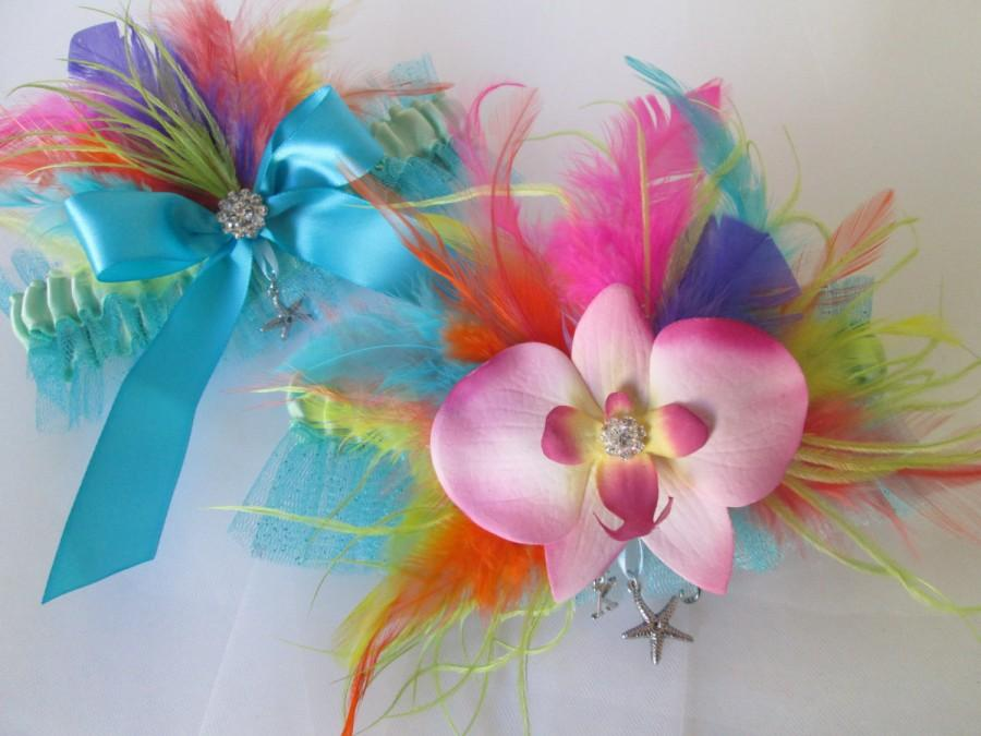 Mariage - Hawaiian Wedding Garter Set, Something Teal Blue Garters, Turquoise & Mint Garter, Rainbow Garter w/ Starfish, Tropical- Beach Bride