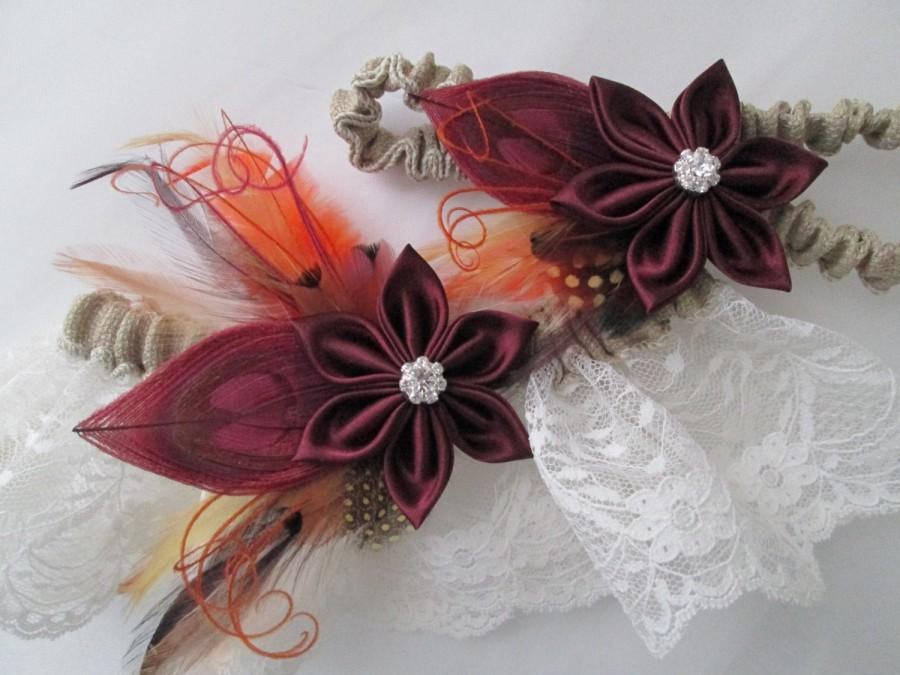 Свадьба - Burgundy Wedding Garter Set, BURLAP Lace Rustic Garter, Marsala Red Garters, Cranberry Garter, Christmas- Sangria, Country Bride Garters
