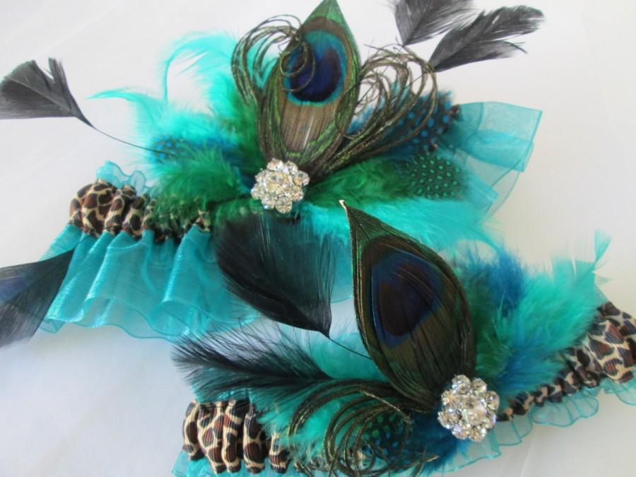Свадьба - Teal Wedding Garter Set with Leopard Print and Peacock Feathers, Peacock Garters, Create / Customize Your Own Garter, Hunting Theme Wedding