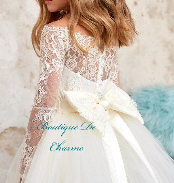 Wedding - Flower girl dress,Rustic flower girl dress,Junior Bridesmaid dress,Ivory flower girl dress,Ivory lace dress,White lace flower girl dress