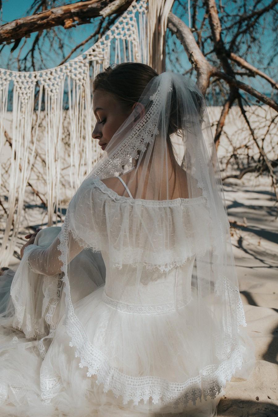 Mariage - Boho Lace Wedding Veil, Draped Veil, Bridal Veil