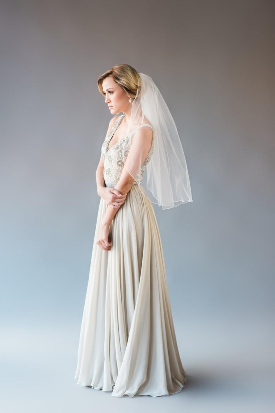 Mariage - Crystal Veil - Embroidered Edge Elbow Length Veil, Bridal Veil, Wedding Veil, Elbow Length Veil, Bridal Illusion Tulle