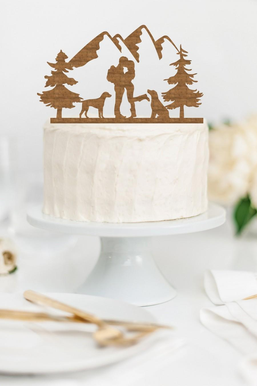 Свадьба - HIKING COUPLE with DOGS Wood Wedding Cake Topper / Backpacking outdoor bride groom cake topper / camping cake topper