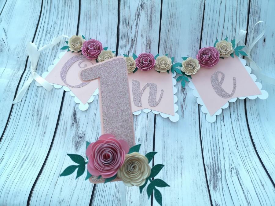 Свадьба - ONE high chair banner floral boho theme smash cake topper first birthday girl party decoration