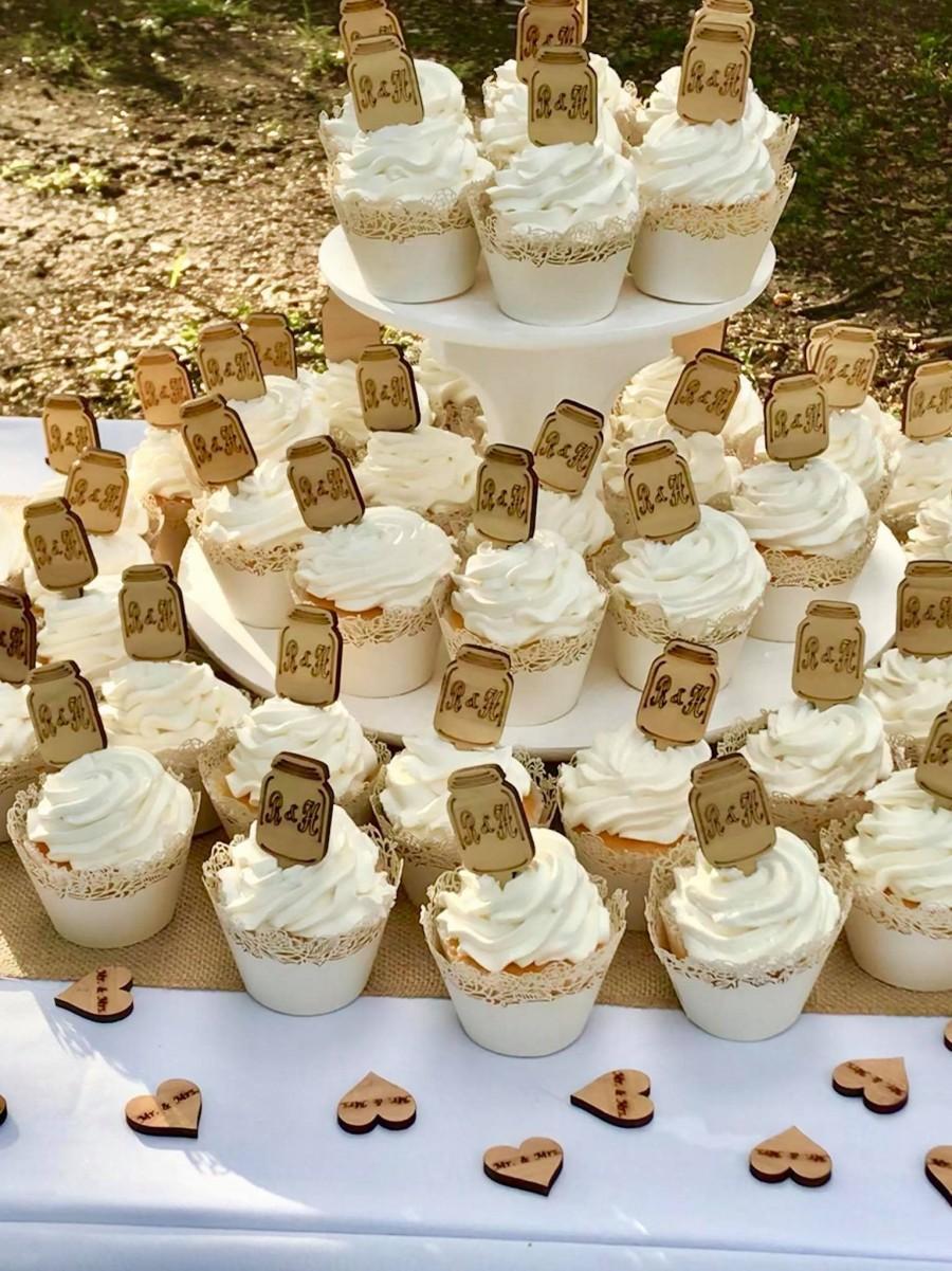 Свадьба - Cupcake toppers,Mason jar cupcake topper,Cake toppers,Mason jars,Rustic wedding decor,Country Sheek Wedding Unique wedding Rustic wedding