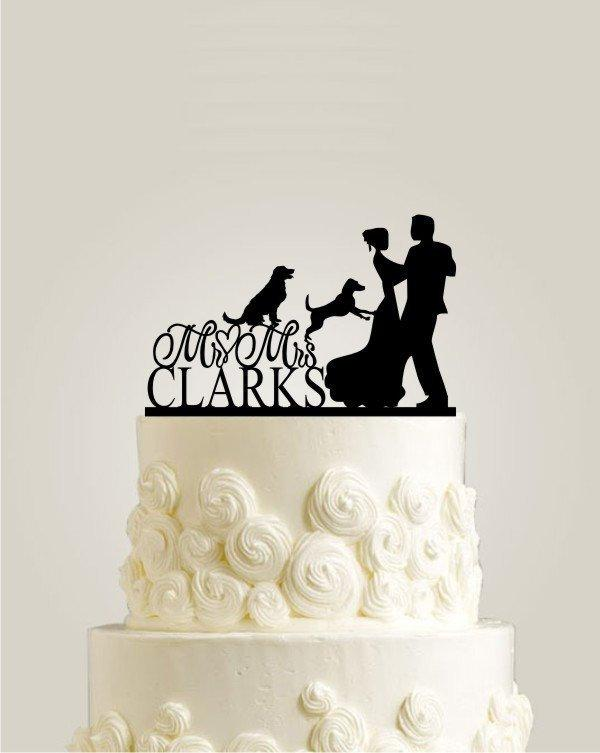 Свадьба - Wedding Cake Topper with two Dogs, Custom Wedding Cake Toppers, Rustic Cake Topper with Last Name