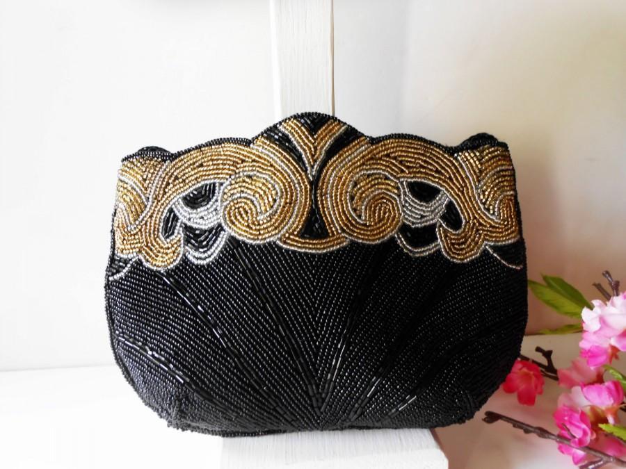 Свадьба - Vintage Black Beaded Evening Bag, Carla Marchi Clutch Handbag,  EB-0272
