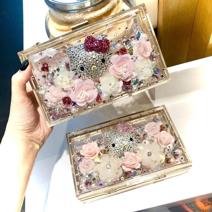 Mariage - NEW!! Crystallised Handcrafted Gorgeous Hand Carry / Sling Clutch Bag with 3D Cute Hello Kitty In Flowers Garden (LIMITED STOCK)