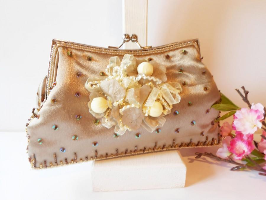 Hochzeit - Vintage Beaded Evening  Bag, Taupe Beaded Clutch Bag, Sparkly    EB-0183
