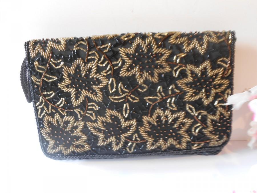 Wedding - Vintage Black Beaded Evening Bag, Black Beaded Clutch Handbag, Hollywood Glamour,  EB-0566
