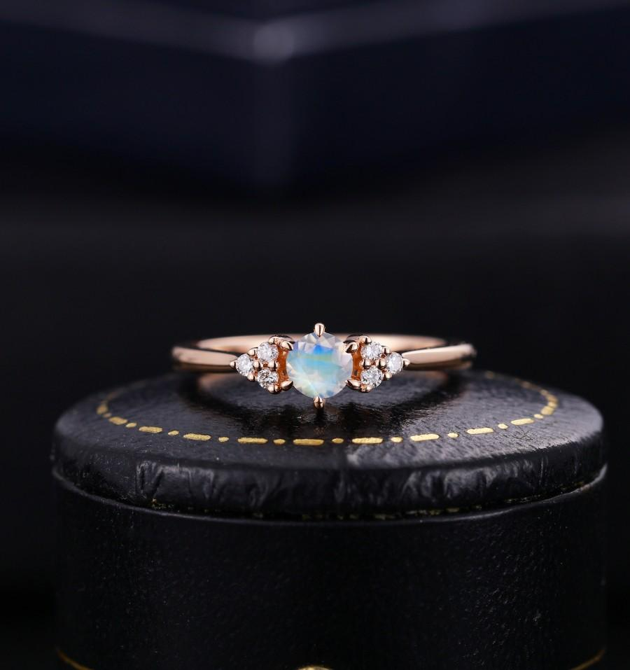Mariage - Vintage Moonstone engagement ring diamond ring unique antique art deco ring rose gold ring solid gold ring anniversary ring bridal ring