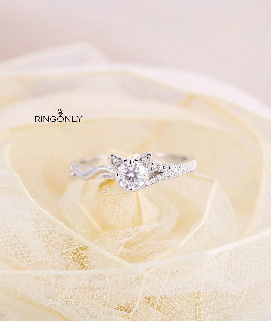 Mariage - Art deco Moissanite engagement ring,white gold, animal cat shaped ring, diamond ring,unique ring for women,anniversary gift, jewelry for her
