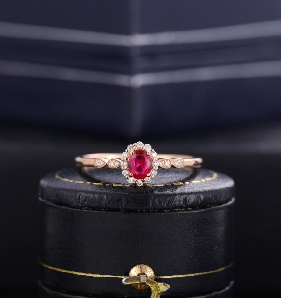 Свадьба - Vintage Ruby engagement ring diamond ring rose gold ring half eternity halo ring, oval cut ruby ring, woman,bridal, anniversary wedding ring