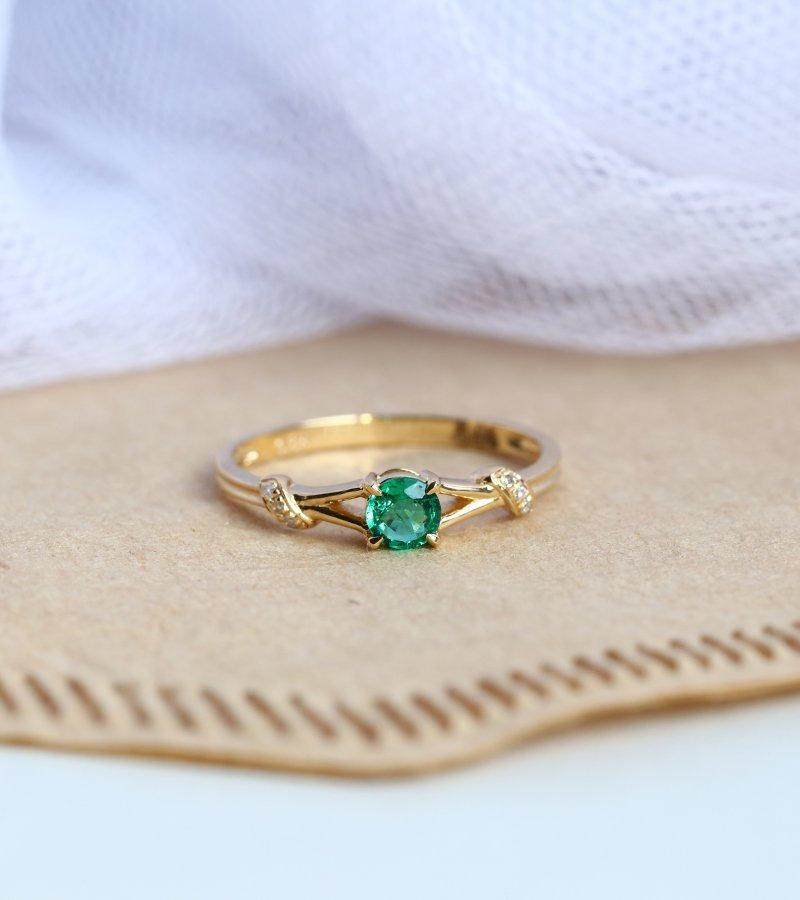Свадьба - Emerald engagement ring yellow gold ring diamond ring vintage art deco ring twisted band antique  bridal ring anniversary,promise for women