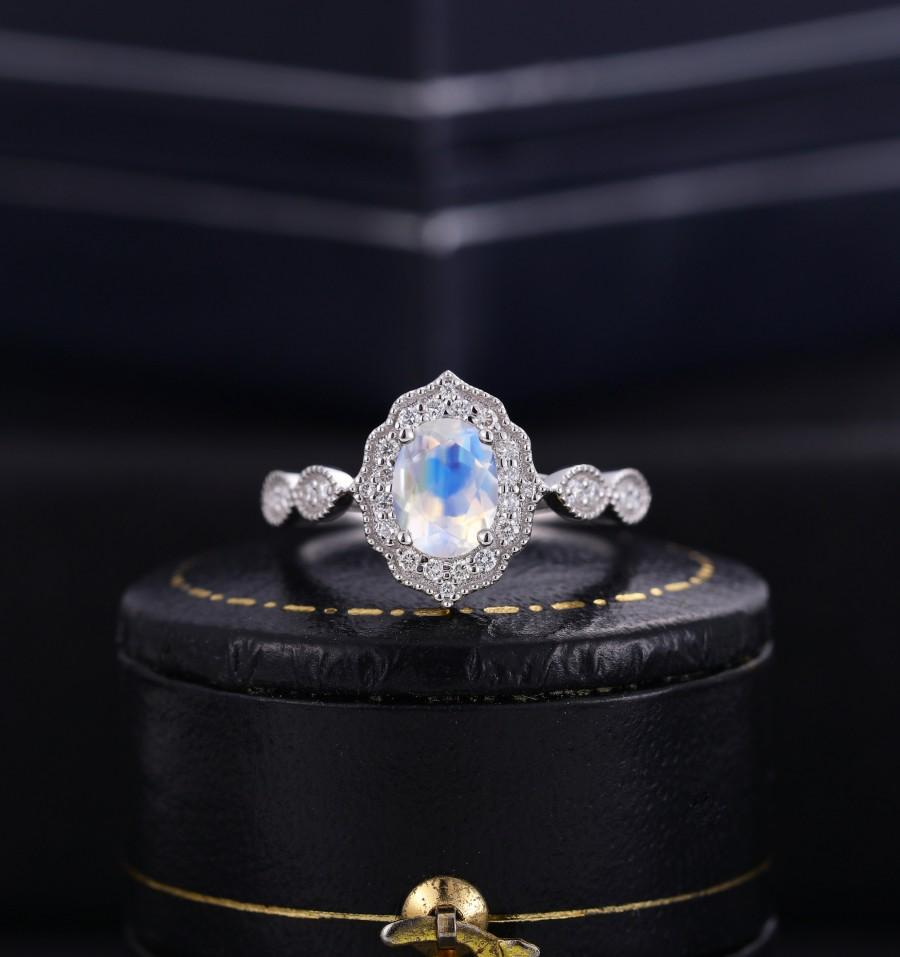 Mariage - Moonstone engagement ring women,Vintage diamond wedding art deco white gold ring Jewelry Anniversary bridal ring, Prong set Milgrain ring