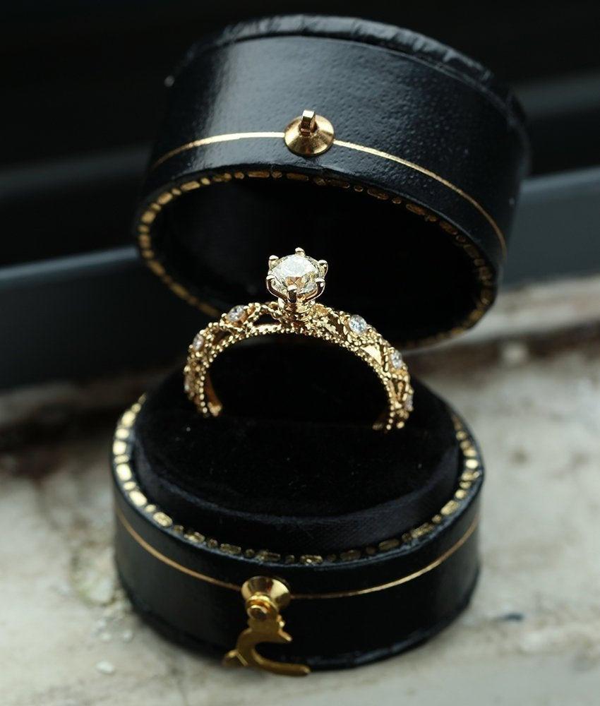 زفاف - Vintage Engagement ring Antique CZ moissanite engagement ring diamond 14k yellow gold ring bridal unique wedding anniversary bridal ring