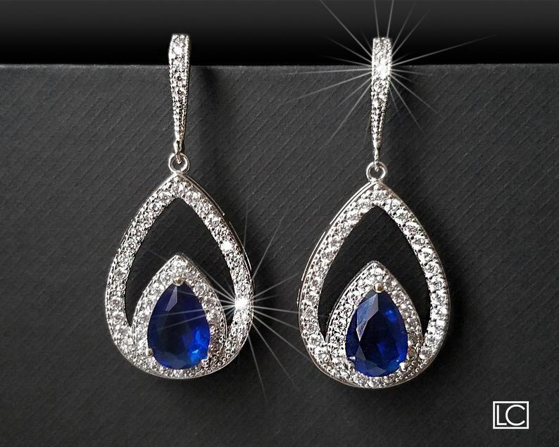 Mariage - Navy Blue Crystal Earrings, Blue Cubic Zirconia Wedding Earrings, Sapphire Teardrop Earrings, Statement Earrings, Royal Blue Bridal Earrings