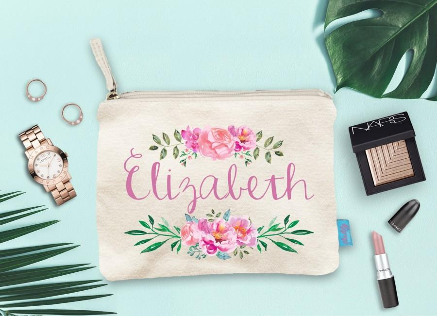 Mariage - Personalized Watercolor Floral Bridesmaid Makeup Bag, Wedding Day Makeup Bag, Wedding Party Cosmetic Bag, Bridesmaid Makeup Pouch