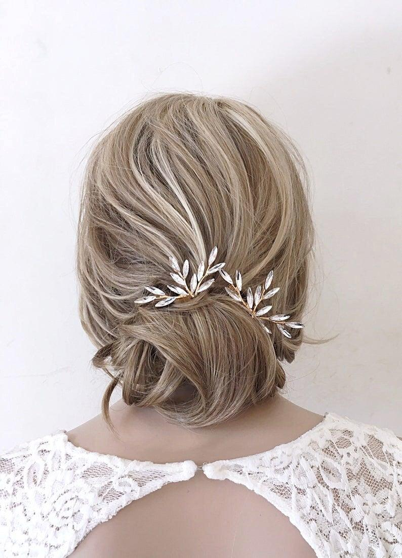Свадьба - Bridal hair pins gold hair comb Wedding Hair Piece Wedding Hair accessories Gold Leaf hair comb bridal hair comb gold hair pins hair vine