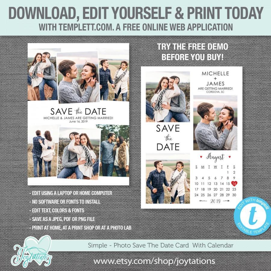 زفاف - Editable Save The Date Card with Photos and Calendar Template, Instant Dowload, Save Our Date Card, Picture, Photos, Photograph, Wedding,10S