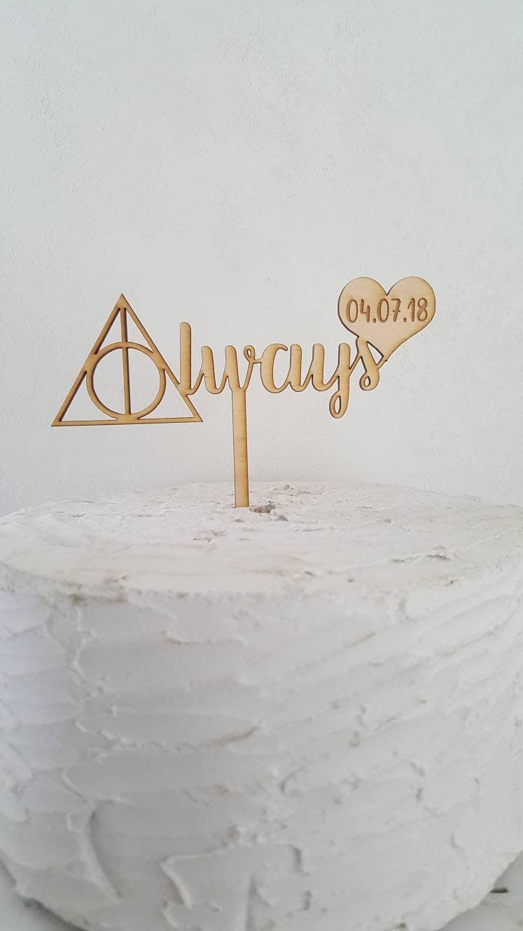 زفاف - Custom Inspired Always with Heart and Date Love Wedding or Anniversary Laser Cut Natural Wood Cake Topper Decoration