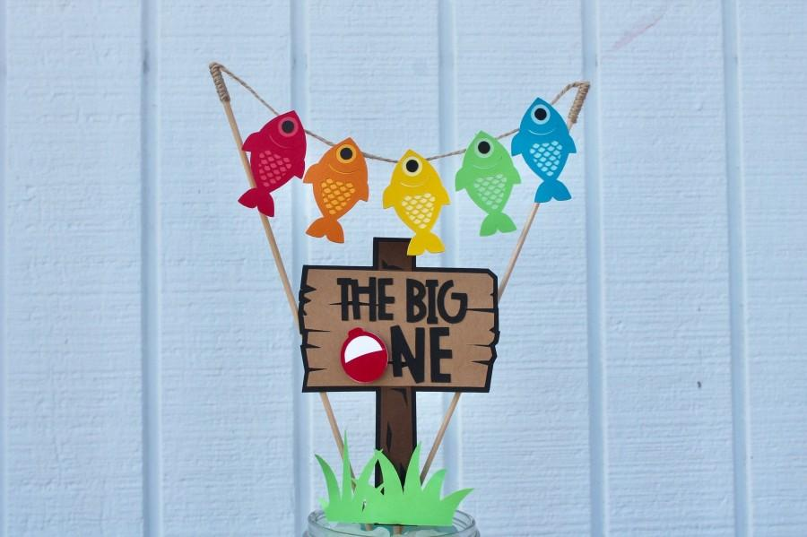 Mariage - The Big One – Fishing First Birthday – The Big One Cake Topper – Fishing Party Decor – Fishing Cake Topper – The Big One Birthday Party